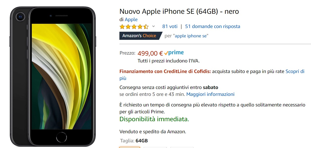 Apple iPhone SE 2020 64 GB su Amazon a Rate con CreditLine di Cofidis: ecco come acquistarlo